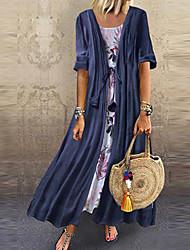 cheap -Women's Swing Dress - Geometric Blushing Maxi Pink Yellow Blue M L XL XXL