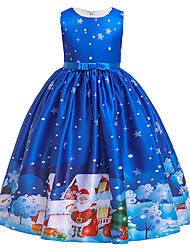 cheap -Kids Toddler Girls' Active Cute Santa Claus Snowman Color Block Snowflake Christmas Pleated Lace up Print Sleeveless Midi Dress Blue