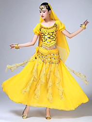 cheap -Belly Dance Outfits Women's Training / Performance Chiffon / Sequined Sash / Ribbon / Glitter / Tassel Short Sleeve Natural Skirts / Top / Headpiece