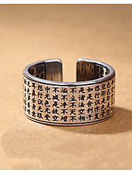 cheap -Vintage tricolor Silver Plated Opening Rings Tibetan Bible Men Rings Fashion 925 Jewelry Black Auger Thai Silver Ring 23mm