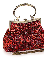cheap -Women's Sequin Polyester Evening Bag Solid Color Black / Almond / Red