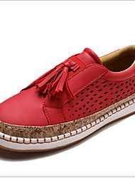 cheap -Women's Loafers & Slip-Ons Flat Heel Round Toe Tassel PU Summer Black / Green / Red