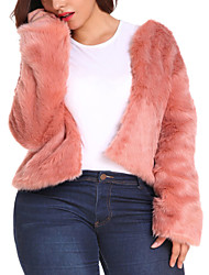 cheap -Women's Daily Basic / Street chic Fall / Winter Plus Size Regular Faux Fur Coat, Solid Colored Collarless Long Sleeve Faux Fur Black / Blushing Pink