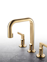 cheap -Unique Design High Quality Bathroom Plumbing Fittings Brushed Gold Dual Handle 3 hole Countertop installation Widespread Hot Cold Washroom Basin Sink Faucet MixerTap