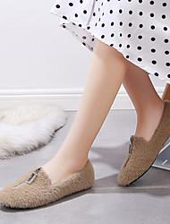cheap -Women's Flats Low Heel Round Toe Pom-pom Satin Casual Walking Shoes Fall & Winter Black / Camel / White