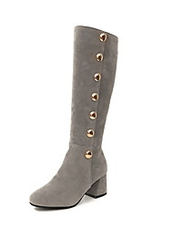 cheap -Women's Boots Low Heel Round Toe Suede Mid-Calf Boots Fall & Winter Black / Brown / Gray