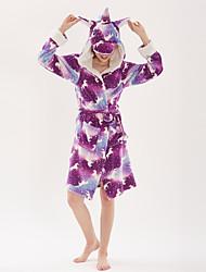 cheap -Kid's Adults' Kigurumi Pajamas Unicorn Flying Horse Onesie Pajamas Flannel Fabric Terylene polyester fibre Purple Cosplay For Men and Women Boys and Girls Animal Sleepwear Cartoon Festival / Holiday
