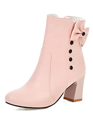 cheap -Women's Boots Chunky Heel Round Toe Bowknot / Imitation Pearl Faux Leather Booties / Ankle Boots Casual / Sweet Walking Shoes Spring &  Fall / Fall & Winter Black / White / Pink