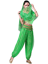 cheap -Belly Dance Outfits Women's Training / Performance Polyester / Chiffon Glitter / Copper Coin / Paillette Short Sleeve Natural Top
