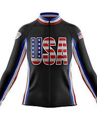 cheap -21Grams American / USA National Flag Men's Long Sleeve Cycling Jersey - Black White Bike Jersey Top Thermal / Warm UV Resistant Breathable Sports Winter Fleece 100% Polyester Mountain Bike MTB Road