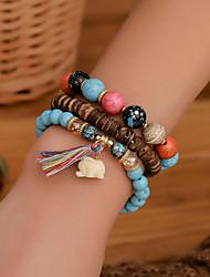 cheap -3pcs Women's Bracelet Beaded Elephant Trendy Acrylic Bracelet Jewelry Light Blue / White / Light Purple For Street