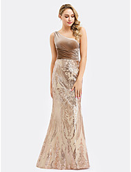 cheap -Mermaid / Trumpet One Shoulder Floor Length Velvet Elegant Formal Evening Dress 2020 with Sequin / Ruched