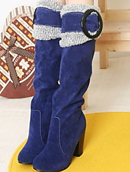 cheap -Women's Boots Chunky Heel Round Toe Suede Mid-Calf Boots Fall & Winter Black / Brown / Blue
