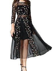abordables -Femme Midi Balançoire Robe Géométrique Noir S M L Manches Longues