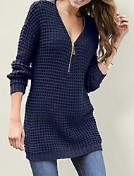 Недорогие -Жен. Однотонный Длинный рукав Пуловер, Глубокий V-образный вырез Черный / Белый / Красный S / M / L