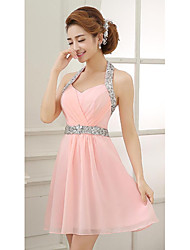 cheap -A-Line Halter Neck Short / Mini Chiffon Bridesmaid Dress with Crystals / Beading / Sequin / Open Back