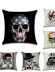 cheap -6 pcs Linen Pillow Cover, Special Design Skull Cartoon Halloween Throw Pillow