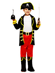 cheap -Captain Jack Sparrow Cosplay Costume Outfits Masquerade Kid's Boys' Cosplay Halloween Halloween Festival / Holiday Polyster Black Carnival Costumes / Coat / Top / Pants / Belt / Hat