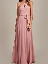 cheap -A-Line Halter Neck Floor Length Chiffon Bridesmaid Dress with Sash / Ribbon / Pleats