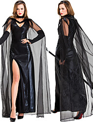 cheap -Witch Dress Cosplay Costume Cloak Masquerade Adults' Women's Cosplay Halloween Halloween Festival / Holiday Tulle Cotton Black Women's Carnival Costumes / Neckwear