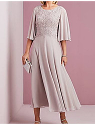 cheap -A-Line Jewel Neck Ankle Length Chiffon Half Sleeve Elegant & Luxurious Mother of the Bride Dress with Crystals / Ruching 2020