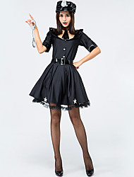 cheap -Police Halloween Props Adults Women's Halloween Halloween Festival / Holiday Knitting Black Women's Carnival Costumes / Dress / Belt / Hat / Tie