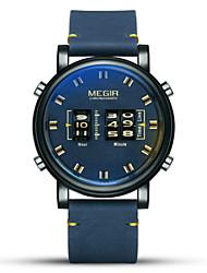 abordables -MEGIR Homme Montre de Sport Quartz Sportif Acier Inoxydable Bleu / Marron 30 m Chronomètre Analogique Mode - Marron Noir / Brun Bleu Un ans Autonomie de la batterie