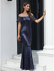cheap -Mermaid / Trumpet Off Shoulder Floor Length Tulle / Sequined Open Back Formal Evening Dress 2020 with