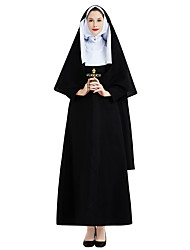 cheap -Nun Cosplay Costume Outfits Masquerade Adults' Women's Cosplay Halloween Halloween Festival / Holiday Polyster Black Women's Carnival Costumes / Dress / Headwear