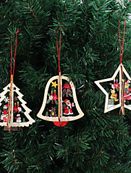 cheap -3Pcs/Set Wooden Christmas Decoration Xmas Tree Pendant 3D Embellishments Hanging Home New Year Party Bauble Decoration