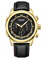 cheap -MEGIR Men's Dress Watch Quartz Sporty Stylish Genuine Leather Black 30 m Water Resistant / Waterproof Calendar / date / day Chronograph Analog Outdoor Fashion - Black Black / White Golden Two Years