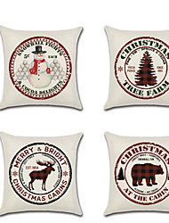 cheap -1 pcs Linen Pillow Cover, Christmas Contemporary Classic European Throw Pillow