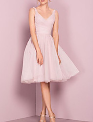 cheap -A-Line V Neck Knee Length Tulle Bridesmaid Dress with Pleats