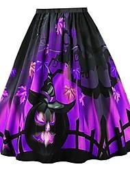 cheap -Women's Halloween A Line Skirts - Floral Black Purple Orange S M L