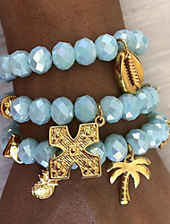 cheap -3pcs Women's Blue Bead Bracelet Vintage Bracelet Earrings / Bracelet Layered Cross Pineapple Lucky Vintage Trendy Fashion Boho Alloy Bracelet Jewelry Gold For Daily / Pendant Bracelet