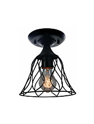 cheap -1-Light Mini Ceiling Light Semi Flush Mount Metal Pendant Lamp with Cages Shade Ceiling Lighting for Corridor Porch