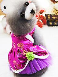 Недорогие -Собаки Коты Животные Платья Одежда для собак Пурпурный Красный Костюм Полиэстер Цветы Этнический Новый год S M L XL XXL