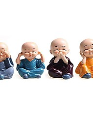 cheap -4pcs creative Chinese little monk statue sculpture resin home decoration accessories mini monk gift