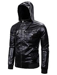 abordables -Homme Sortie Actif Automne hiver Court Veste de cuir, Couleur Pleine Mao Manches Longues Polyuréthane Noir / Marron clair