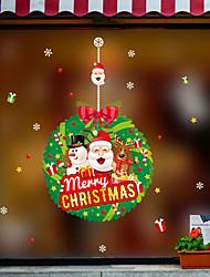 Недорогие -Оконная пленка и наклейки Украшение С новым годом / Рождество Праздник / Персонажи ПВХ Стикер на окна / Веселая