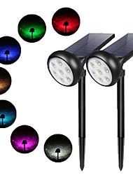 Недорогие -2шт 2 Вт газонные светильники / уличные настенные светильники / светодиодный уличный фонарь водонепроницаемый / солнечный / новый дизайн 7 преобразование цветов / теплый белый 3,2 В наружное освещение