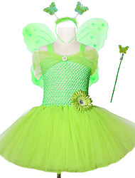 cheap -Children's Stage Performance Mesh Tutu Skirt with Butterfly Wing Headband Magic Stick