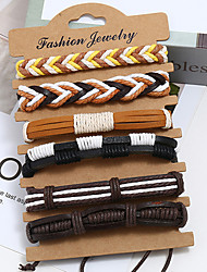 cheap -6pcs Men's Wrap Bracelet Vintage Bracelet Earrings / Bracelet Layered Weave Vintage Punk Trendy Ethnic Fashion Genuine Leather Bracelet Jewelry Black For Daily School Street / Loom Bracelet
