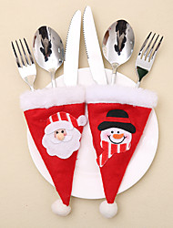 cheap -2Pcs Christmas Hat Knife And Fork Bags Suit / Holiday Decorations New Year's