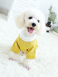 cheap -Dog Outfits Dress Tuxedo Striped Wedding Simple Style Wedding Party Winter Dog Clothes Yellow Red Costume Baby Small Dog Polyster S M L XL XXL XXXL