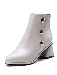 cheap -Women's Boots Chunky Heel Pointed Toe Rivet / Buckle Faux Leather Booties / Ankle Boots Casual / Minimalism Walking Shoes Spring &  Fall / Fall & Winter Black / Light Grey