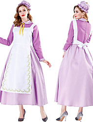 cheap -Maid Costume Dress Cosplay Costume Outfits Party Costume Adults' Women's Cosplay Halloween Halloween Festival / Holiday Tulle Polyster Purple Women's Carnival Costumes / Apron / Hat / Tie
