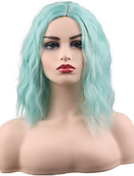 cheap -Synthetic Wig Curly Middle Part Wig Ombre Medium Length Synthetic Hair 14 inch Women's Synthetic Fashion Comfortable Green Ombre