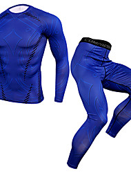 cheap -JACK CORDEE Men's Long Sleeve Cycling Jersey with Tights Compression Suit Winter Fleece Elastane Blue Geometic Bike Clothing Suit Thermal / Warm Breathable Quick Dry Sweat-wicking Sports Geometic
