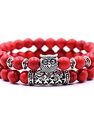 abordables -2pcs Bracelet à Perles Bracelet Yoga Bracelet en cristal Femme Perlé Chouette Bohème Le style mignon Style Folk Bracelet Bijoux Noir Jaune Rouge pour Quotidien